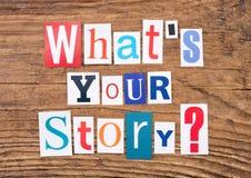 ` De question quel ` s votre histoire ? ` sur le fond en bois Photos libres de droits