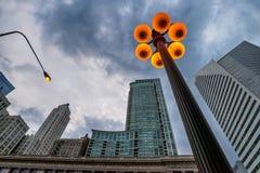 De réverbères le centre ville dedans de Chicago photographie stock