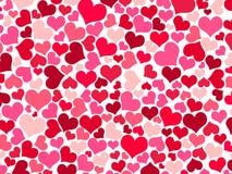 De röda, purpurfärgade och rosa hjärtorna på vit bakgrund arkivbild