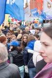 05/01/2015 de Rússia, Moscou Demonstração no quadrado vermelho A Dinamarca Labor Fotografia de Stock Royalty Free