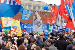 05/01/2015 de Rússia, Moscou Demonstração no quadrado vermelho A Dinamarca Labor Imagem de Stock