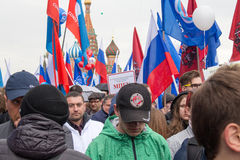 05/01/2015 de Rússia, Moscou Demonstração no quadrado vermelho A Dinamarca Labor Imagens de Stock