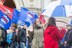 05/01/2015 de Rússia, Moscou Demonstração no quadrado vermelho A Dinamarca Labor Fotografia de Stock