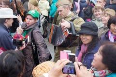 05/01/2015 de Rússia, Moscou Demonstração no quadrado vermelho A Dinamarca Labor Foto de Stock