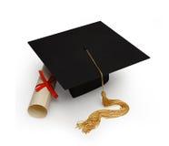 De raad & het diploma van het mortier op wit Stock Fotografie