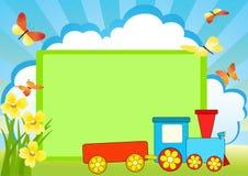 De raad en de trein van het bericht. Royalty-vrije Stock Foto's