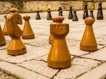 De raad en de stukken van het schaakspel in een park in Zürich Zwitserland - 6 Royalty-vrije Stock Afbeelding
