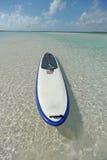 De raad van de peddel in blauw water Stock Fotografie