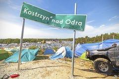 De raad van de stadsnaam op het 21ste Woodstock-Festival Polen Royalty-vrije Stock Afbeelding