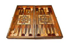 De raad van het backgammon volledig op witte achtergrond. royalty-vrije stock afbeelding
