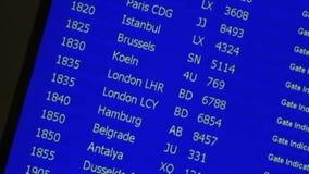 De raad van het luchthavenvertrek stock footage