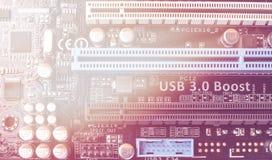 De raad van de kring De technologie van de elektronische computerhardware Motherboard digitale spaander Stock Foto