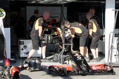De raceauto van Formule 1 Lotus - F1 Foto's Stock Afbeeldingen