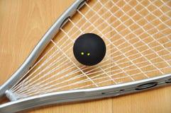 De racket en de bal van de pompoen Stock Afbeelding