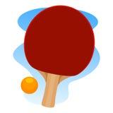 De racket en de bal van het pingpong Stock Afbeelding