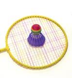 De racket en de shuttle van het badminton Stock Afbeeldingen