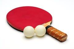 De Racket van de pingpong met twee tennisbal Stock Foto's