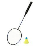 De Racket van het badminton en een Vogeltje Royalty-vrije Stock Foto