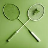 De racket van het groenbadminton Royalty-vrije Stock Afbeeldingen