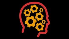 De radertjes roteren binnen menselijk hoofd stock illustratie
