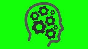 De radertjes roteren binnen menselijk hoofd royalty-vrije illustratie
