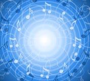 De radiale Muziek neemt nota van Blauwe Achtergrond Stock Afbeelding