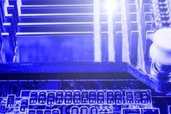 De radiator op spaander van northbridge van computermotherboard sluit macro Royalty-vrije Stock Foto's