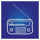 De radio hand-drawn op een blauwe achtergrond Royalty-vrije Stock Afbeelding