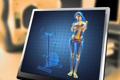 De radiografieaftasten van de vrouw in gymnastiekruimte Stock Afbeeldingen