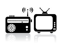 De radiopictogrammen van TV Stock Afbeeldingen