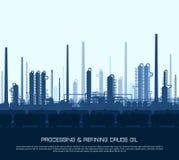 De raffinaderij van de olie en van het gas stock illustratie