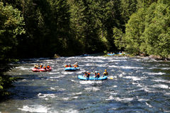 De rafting groep van de stroomversnellingrivier Stock Fotografie