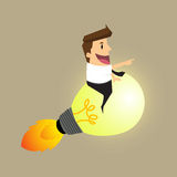 De raket van zakenmanIdea Stock Afbeeldingen