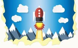 De raket vliegt aan de hemel De bergen zijn prachtig behandeld met sneeuw Document kunst en ambachtstijl Illustraties, vectoren,  vector illustratie