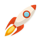 De raketschip van het beeldverhaal vlak ontwerp Symbool van opstarten en creativi Stock Afbeeldingen
