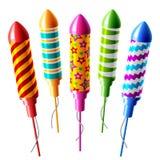 De raketten van het vuurwerk. Vector. Stock Afbeeldingen