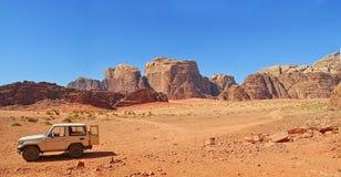 De Ram van Vadi - Jordanië. Panorama Royalty-vrije Stock Foto's