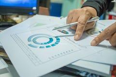 De rapportendocumenten van zakenmanPreparing met grafieken, grafieken op Stac Stock Afbeelding
