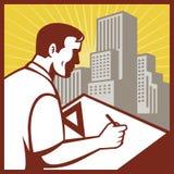 De rapporteurstekenaar van de architect Stock Afbeelding