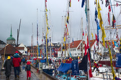 De Rassen 2008 van de Lange Schepen in Bergen, Noorwegen Royalty-vrije Stock Afbeelding