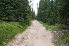 De rastro del camino en Rocky Mountains Foto de archivo