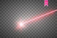 De rayo láser rojo abstracto Aislado en fondo negro transparente Ejemplo del vector, ilustración del vector