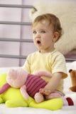 De reactie van de baby stock fotografie