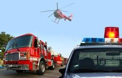 De reactie van het brandweerkorps Stock Foto
