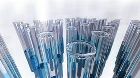 De reageerbuizen van het glaslaboratorium in groepen Stock Foto's