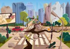 De realistische aardbeving met grondspleten in beeldverhaal ruïneerde stedelijke stadshuizen met barsten en schade dor klimaat in vector illustratie