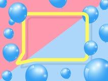 De realistische ballons vieren het feestelijke ontwerp van de vakantiepartij en het vierkante kader van de toespraakbel op multic Stock Foto