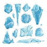 De realistische bevroren ijskappensneeuwbanken en de ijskegels gebroken het stukkoude van het stukbeetje blokkeren het decorvecto Royalty-vrije Stock Foto