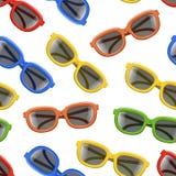 De realistische 3d Achtergrond van het de Lenzen Naadloze Patroon van de Kleurenzonnebril Zwarte Vector vector illustratie