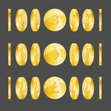 De realistische 3d Gedetailleerde Reeks van Bitcoin Lightcoin Etherium Stock Afbeelding